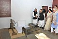 The President, Shri Pranab Mukherjee visiting the Sabarmati Ashram, Ahmedabad, in Gujarat on December 01, 2015. The Governor of Gujarat, Shri O.P. Kohli and the Chief Minister of Gujarat, Smt. Anandiben Patel are also seen.jpg