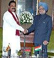 The President of Sri Lanka, Mr. Mahinda Rajapaksa meeting the Prime Minister, Dr. Manmohan Singh, in New Delhi on November 13, 2008.jpg