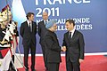 The Prime Minister, Dr. Manmohan Singh being received by the President of France, Mr. Nicolas Sarkozy, at the plenary session of G-20 Summit, in Cannes, France on November 03, 2011.jpg