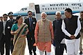 The Prime Minister, Shri Narendra Modi being welcomed by the Chief Minister of Rajasthan, Smt. Vasundhara Raje Scindia and other dignitaries on his arrival, at Suratgarh, in Rajasthan on February 19, 2015 (1).jpg