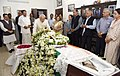 The Prime Minister, Shri Narendra Modi paying homage at the mortal remains of the former Lok Sabha Speaker, Shri P.A. Sangma, in New Delhi.jpg