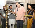 The Union Minister for Rural Development, Panchayati Raj, Drinking Water and Sanitation, Shri Chaudhary Birender Singh lighting the lamp to inaugurate the National Workshop on Affordable Rural Housing.jpg