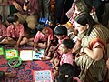 The Union Minister for Women and Child Development, Smt. Maneka Sanjay Gandhi interacting with the children at an Anganwadi Centre, in Bhopal, Madhya Pradesh on August 27, 2015.jpg