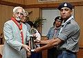 The Vice President, Mohammad Hamid Ansari presenting the Uparashtrapati Award to a student at 'Bharat Scouts & Guides Uparashtrapati Award Ceremony', in New Delhi on May 12, 2008.jpg