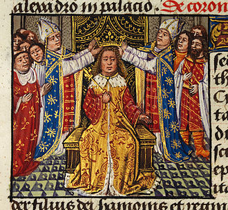 Alexander the Great in legend - The coronation of Alexander depicted in medieval European style in the 15th century romance The History of Alexander's Battles