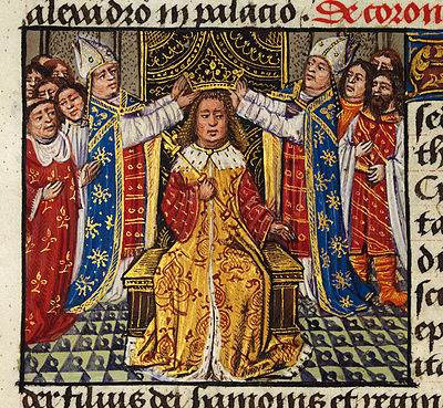 The coronation of Alexander depicted in medieval European style in the 15th century romance The History of Alexander's Battles The coronation of Alexander.jpg