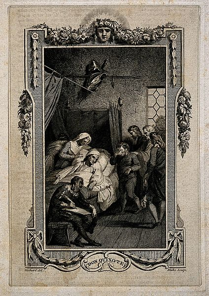 File:The death bed of Don Quixote. Line engraving by Blake after Wellcome V0015119ER.jpg