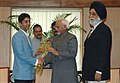 The first winner of an individual Gold Medal for India at the Beijing Olympic Games and International Shooting Ace, Shri Abhinav Bindra meeting with the Vice President, Shri Mohd. Hamid Ansari, in New Delhi.jpg