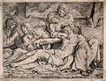 The four holy women lament over the dead Christ. Engraving b Wellcome V0034799.jpg