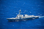 The guided missile destroyer USS Halsey (DDG 97) maneuvers off the coast of Oahu, Hawaii, Aug. 6, 2013 130806-N-IU636-028.jpg