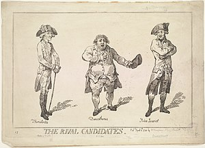 Sir Cecil Wray, 13th Baronet - The Rival Candidates, a 1784 engraving by Thomas Rowlandson, satirising the 1784 general election contest for the seat of Westminster. The three candidates are depicted as historical figures; Sir Samuel Hood, a naval officer and war hero, is shown as Themistocles. Charles James Fox, a noted orator, is Demosthenes. Wray is on the right, portrayed as Judas Iscariot, for his apparent betrayal of his fellow whig Fox in this election.