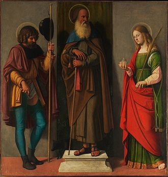 Hospital Brothers of St. Anthony - Saints Roch, Anthony Abbot and Lucy, 1513, possibly commissioned for a community of the Hospital Brothers