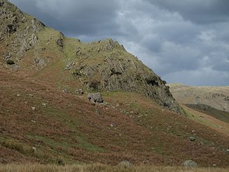 Dent Group - Steeply-dipping calcareous mudstones of the Dent Group on Timley Knott near Coniston, Cumbria