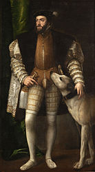 Titian: Portrait of Charles V with a Dog