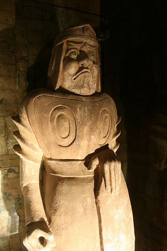Emperor Xuanwu of Northern Wei - A stone-carved tomb guardian standing within the Luoyang tomb of Emperor Xuanwu