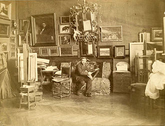 Tony Robert-Fleury - Robert-Fleury in his studio,  from the Frick Collection