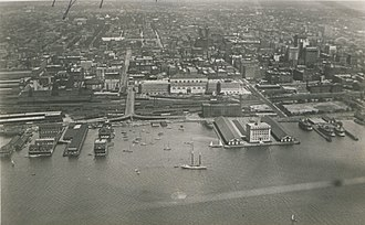 Railway Lands - The Railway Lands between the Toronto waterfront and Front Street, c. 1919. The area saw a build up of rail lines from the 1850s to the 1920s.