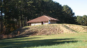 History of North Carolina - Town Creek Indian Mound, an example of a Mississippian-style ceremonial mound in North Carolina.
