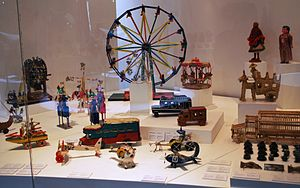 Traditional Mexican handcrafted toys - Display of traditional toys at the Museo de Arte Popular in Mexico City