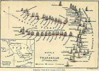 HMS Agamemnon (1781) - Image: Trafalgar aufstellung