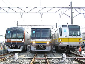 Yūrakuchō Line EMUs (from left: 10000 series, 07 series, 7000 series)