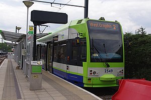 Beckenham Junction station - Tram 2549 at the Beckenham Junction terminus of Tramlink route 2.