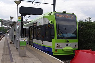 Beckenham Junction station - Tram 2549 at the Beckenham Junction terminus of Tramlink.