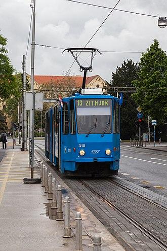 Trams in Zagreb - Tatra KT4 serving the line 13 in Zagreb.