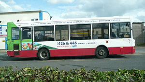 Travel Surrey - Plaxton Pointer bodied Dennis Dart in the green-based branding used on routes 426 and 446 in Woking in March 2008