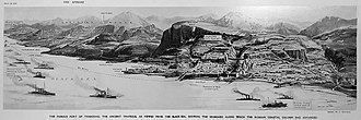 Trebizond Campaign - Illustration of the capture of Trabzon by the Russian army. Published by The Sphere on April 29, 1916
