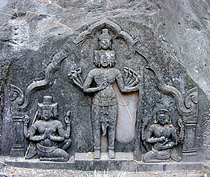 Sadasiva - Sadasiva standing midst Brahma and Vishnu. 10th c. CE sculpture at Vat Phou, Laos.