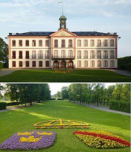 Västra facade af Toldgarns slot og parken.