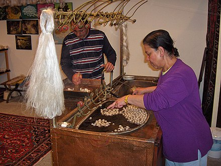 Silk filaments being unravelled from silk cocoons, Cappadocia, Turkey, 2007. Turkeye.Urgup02.jpg