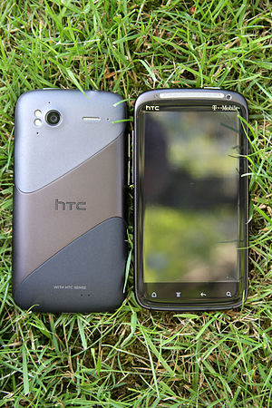 HTC Sensation - Two HTC Sensations displaying front and back