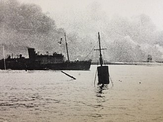 SS King Orry (1913) - Tynwald passes the wreck of her Steam Packet sister, King Orry, as she approaches Dunkirk.
