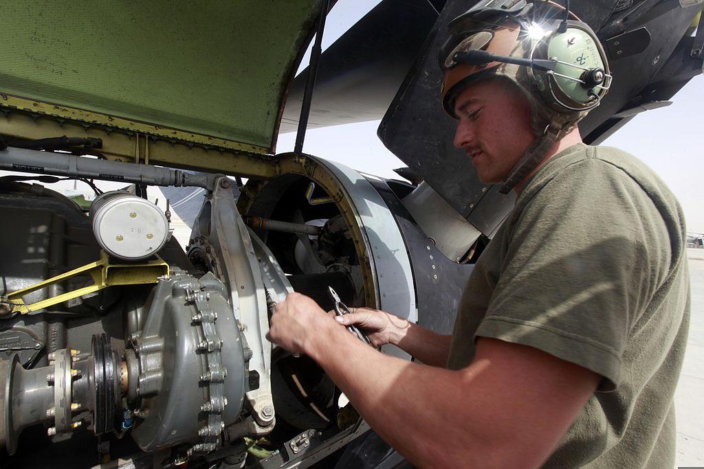 file u s  marine corps lance cpl  robert j  powell  an aircraft mechanic with marine medium