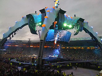 Hampden Park - U2 in concert at Hampden in August 2009, as part of the 360° Tour. The pitch was damaged by the concert, resulting in a postponement of a Queen's Park football match.