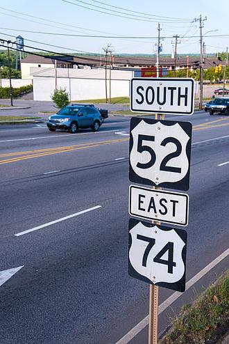 U.S. Route 52 in North Carolina - US 52/US74, in Wadesboro