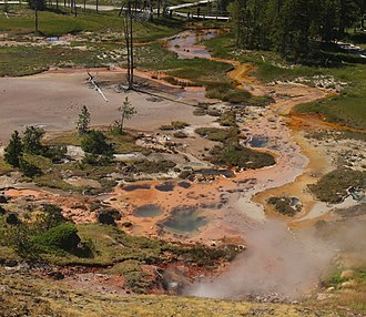Geothermal areas of Yellowstone - Overview of Artists' Paintpoints.