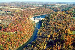 Mahoning Creek Dam; Redbank Township is to the left