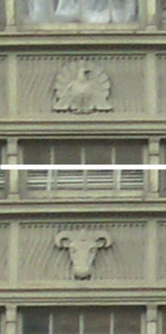 United States Department of Agriculture South Building - Edwin Morris relief panels on the windows at the rear of the building, facing C Street