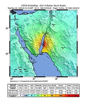 1995 Gulf of Aqaba earthquake - USGS shakemap showing the intensity of the 1995 Gulf of Aqaba earthquake