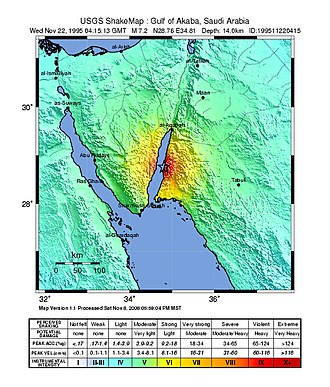 1995 Gulf of Aqaba earthquake - USGS shakemap showing the intensity of the 1995 Gulf of Aqaba earthquake