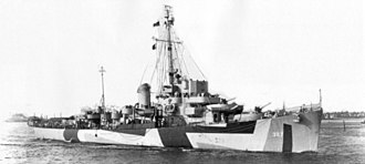 USS Brister - USS Brister (DE-327), undated wartime image, showing ship in camouflage paint