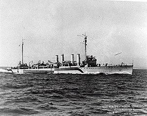 USS Champlin (DD-104) underway in the Santa Barbara Channel, California (USA), on 21 October 1918