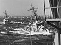 USS John Willis (DE-1027) and USS Van Voorhis (DE-1028) underway off Argentinia in October 1965.jpg
