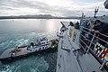 USS Mobile Bay departs Guam. (25036531951).jpg