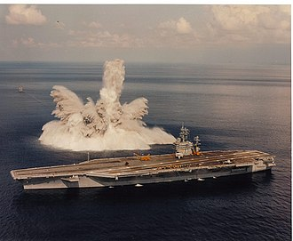 USS Theodore Roosevelt (CVN-71) - Shock test of Theodore Roosevelt during sea trials in 1987