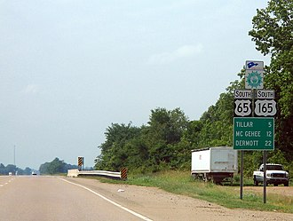 Arkansas Scenic Byways - Image: US 65, US 165, and Great River Road south of Dumas, Arkansas