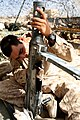 US Marine cleaning M-2 at FOB Geronimo in Helmand province Afghanistan.jpg